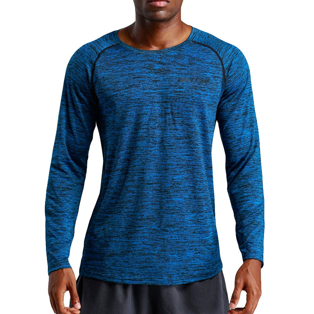 MODOQO Mens Long Sleeve T-Shirt Casual Loose Fit Pullover Fitness Training Clothes