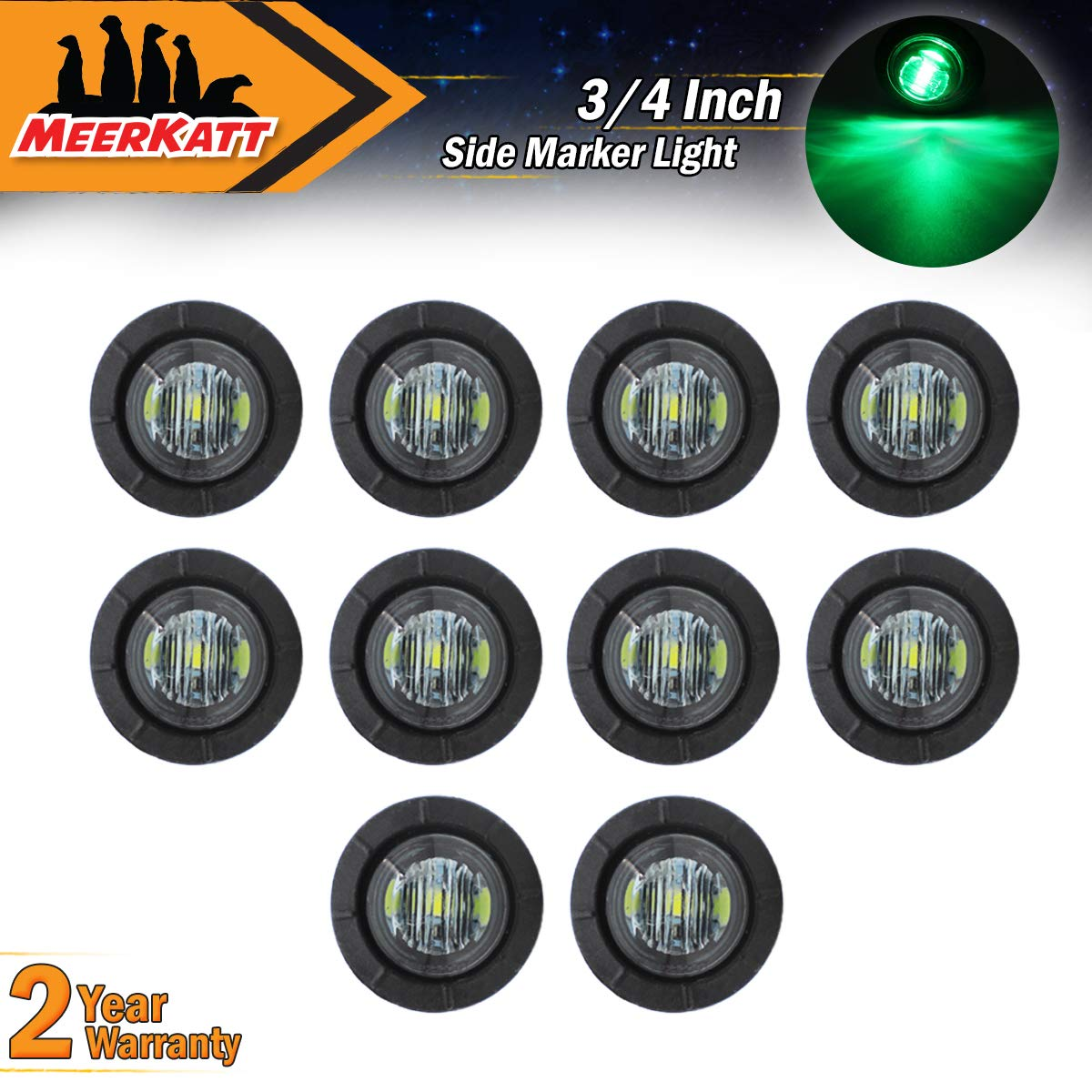 Meerkatt (Pack of 10) 3/4' Inch Mini Round Smoked Lens Red LED Button Side Marker Clearance SMD Lamp Bullet Super Bright Indicator Light Caravan Ferry Boat Trailer RV Truck grommets 12V DC Waterproof