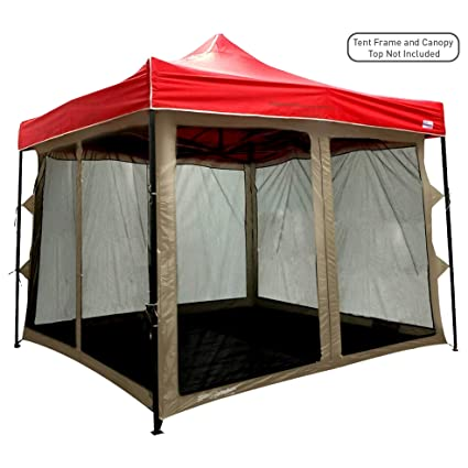 the best attitude 12498 29291 EasyGoProducts Screen Room attaches to Any 10'x10' Pop Up Screen Tent Room  – 4 Walls, Mesh Ceiling, PVC Floor, Two Doors, Four Windows – Standing Tent  ...