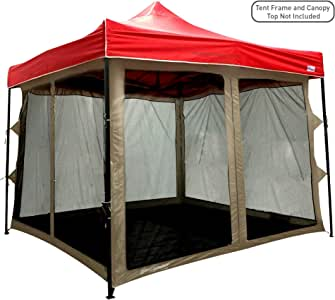 EasyGoProducts Screen Room attaches to Any 10'x10' Pop Up Screen Tent Room – 4 Walls, Mesh Ceiling, PVC Floor, Two Doors, Four Windows – Standing Tent – Tent Room - Tent Frame and Canopy NOT Included