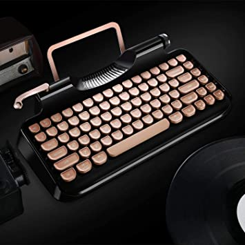 Rymek teclado mecánico con cable e inalámbrico estilo máquina de escribir con soporte para tableta, conexión Bluetooth (v1, negro)