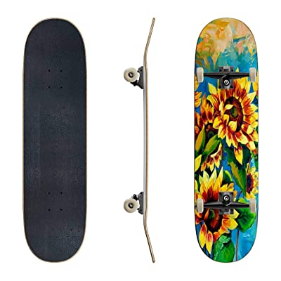 EFTOWEL Skateboards Sunflowers Sunflower Stock Illustrations Classic Concave Skateboard Cool Stuff Teen Gifts Longboard Extreme Sports for Beginners and Professionals : Sports & Outdoors