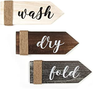 J JACKCUBE DESIGN Laundry Room Décor Home Vintage Wall Art Set of 3 Rustic Wooden Decorative Wash Dry Fold Laundary Wall Décor Signs with Twine -MK902A