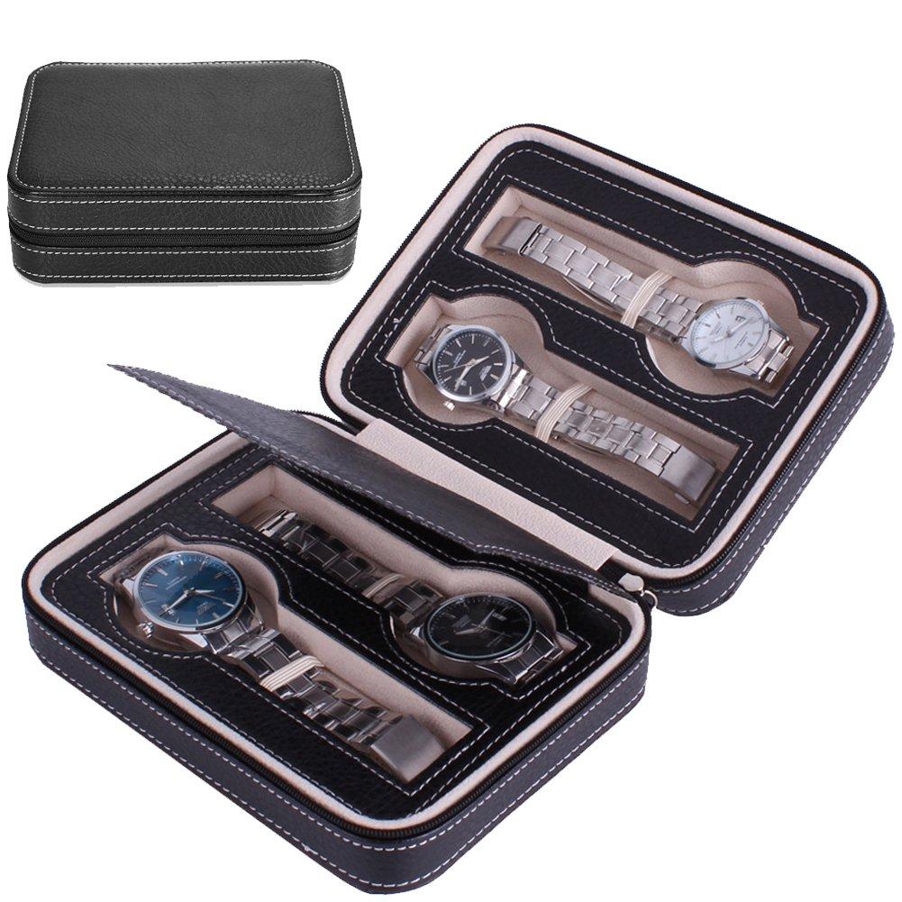 Nasion.V Portable Watch Organizer Box 4 Slots Travel Watch Storage Case Leatherette Zippered Watch Holder Collector Case Jewelry Storage Organizer Box - Black