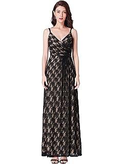a0eedec42942 Ever Pretty Women's Spaghetti Strap V Neck A line Empire Waist Long Lace  Evening Dresses 07430