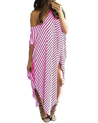 d90c24c088ab ZANZEA Sexy Women Stripe Off Shoulder Irregular Loose Casual Summer Top  Beach Kaftan Maxi Dress Rose S  Amazon.co.uk  Clothing