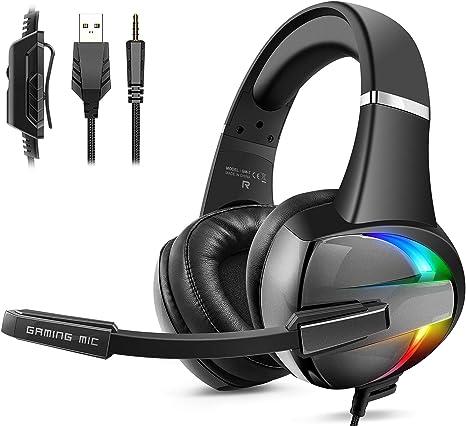 Beexcellent Cascos PS4, Auriculares con Micrófono Flexible, 50mm Driver Estéreo Envolventes, Orejeras Cómodas Iluminación RGB para PS4 Xbox One PC Tablet: Amazon.es: Videojuegos