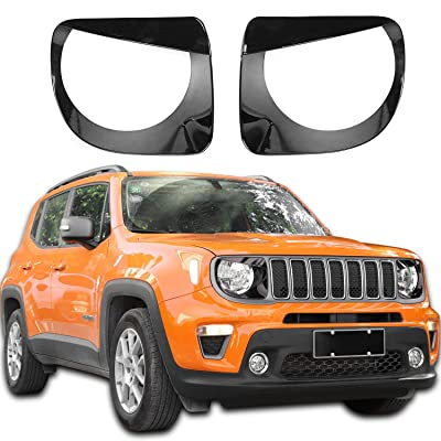 JeCar Headlight Bezels Headlight Trim Cover Angry Bird Head Lamp Ring for 2020-2020 Jeep Renegade, Black: Automotive