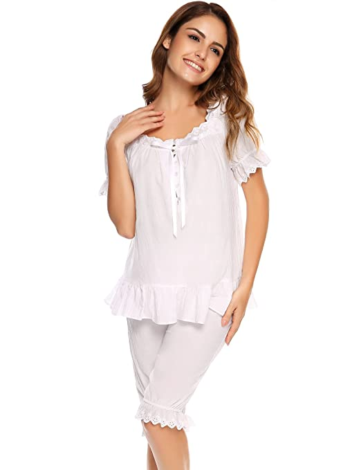 Vintage Inspired Nightgowns, Robes, Pajamas, Baby Dolls Ekouaer Womens Cotton Pajama Set Victorian Vintage PJ Sleepwear with Short Pants $28.99 AT vintagedancer.com