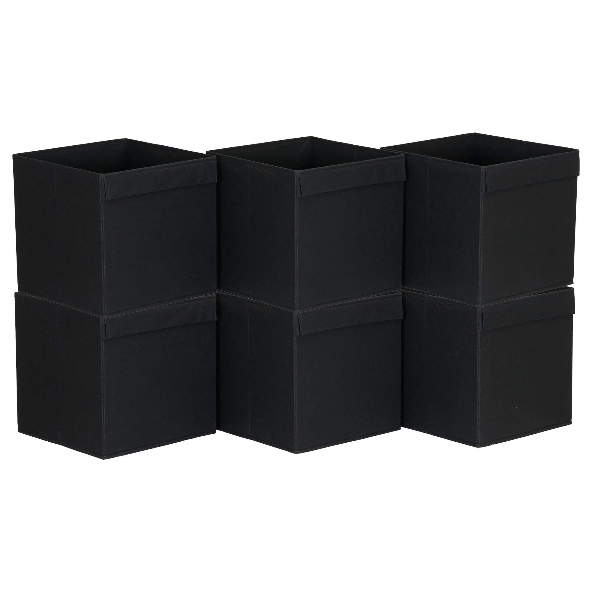 Hosuehold Essentials Household Essentials 86-1 Foldable Fabric Storage Bins | Set of 6 Cubby Cubes with Flap Handle, Black by Household Essentials