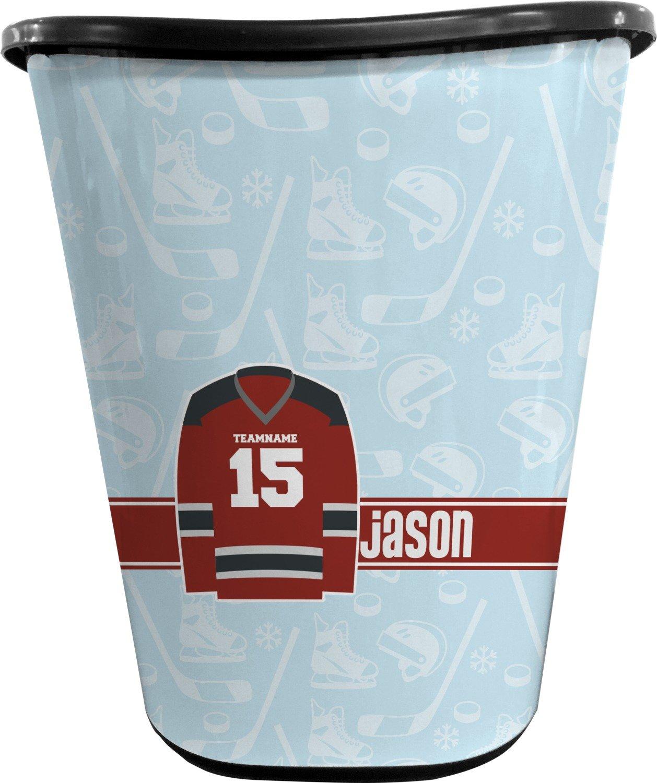 RNK Shops Hockey Waste Basket - Single Sided (Black) (Personalized)