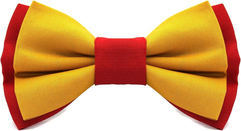 Regalo elegante y original Tela bicolor amarilla y roja Colecci/ón de moda hombre: Confeccionada en Espa/ña L/ínea boda y eventos Territorial Pajarita Espa/ña Cinta ajustable