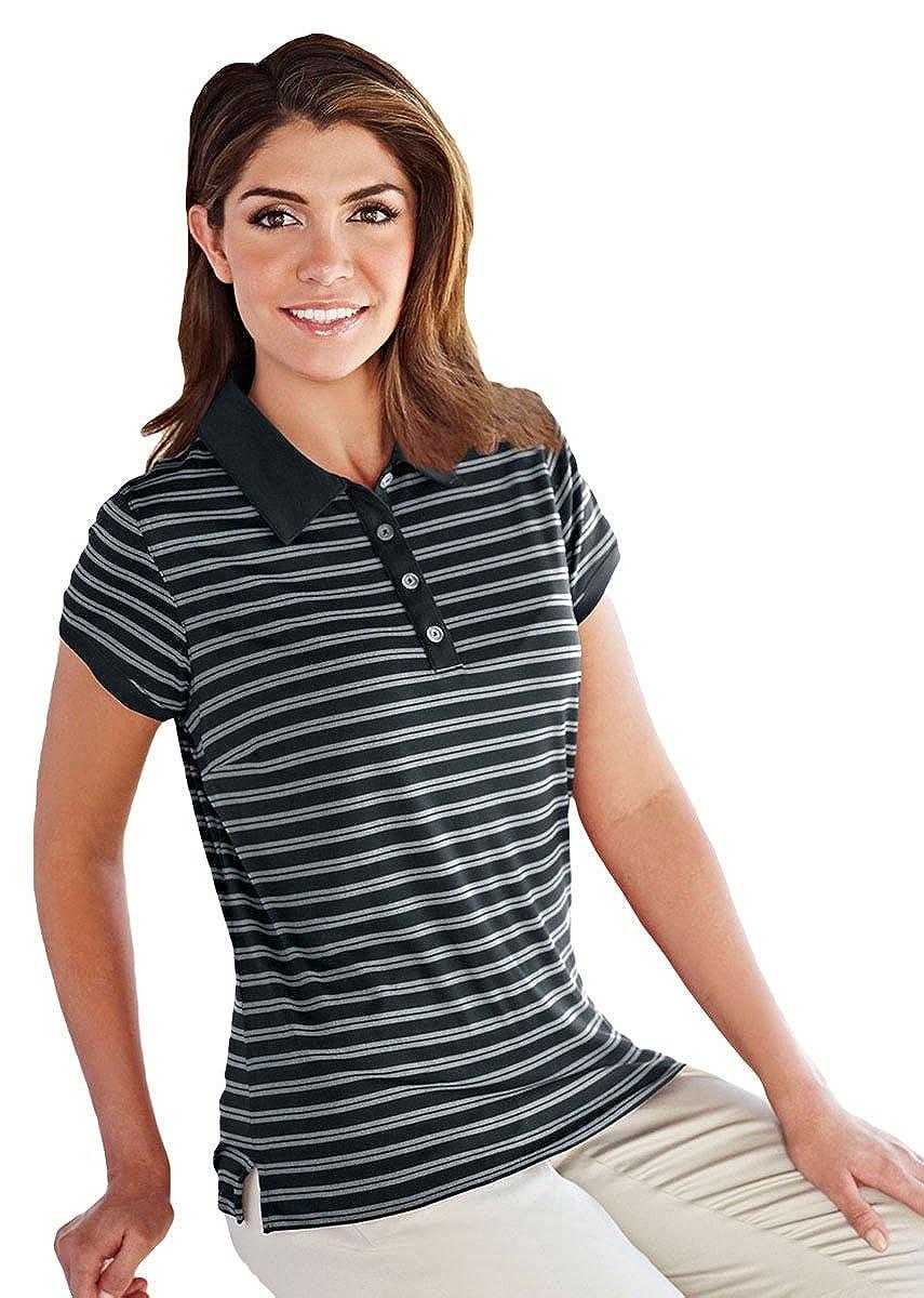 Tri-Mountain 5.3 oz 100/% Polyester MoistureWick Striped Polo Shirt