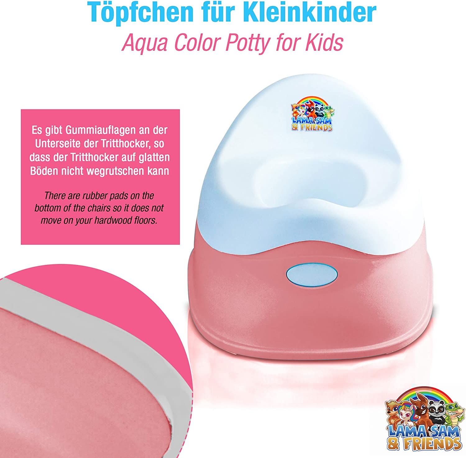 Lama Sam /& Friends 3 Years Anti-Slip Function 18 Months to Approx Pink 2-Piece Baby Pot Potty from Approx