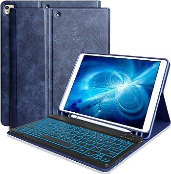 Funda con teclado para iPad 10.2 (7ª generación 2019) iPad 10.5 2019 (Air 3) iPad Pro 10.5 2017 con soporte para lápiz retroiluminado Bluetooth ...