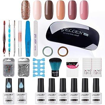Amazon.com : Gellen Gel Polish Starter Kit - Selected 6 Colors, with ...