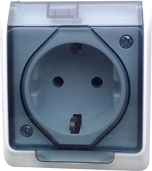 Caja de enchufe empotrable (ambiente húmedo, IP44, 16 A, 250 V): Amazon.es: Electrónica