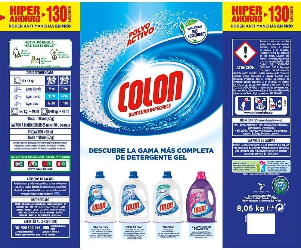 Colon Polvo Activo - Detergente para lavadora, adecuado para ropa ...