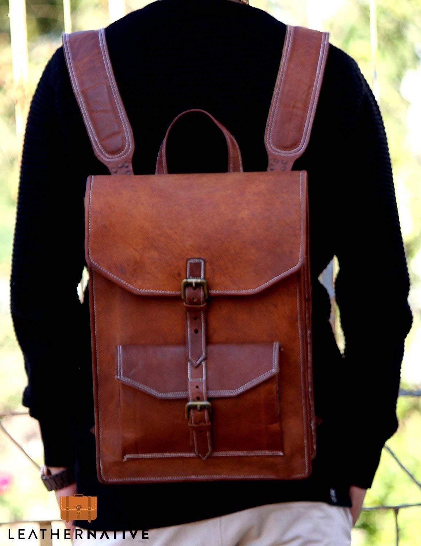 Leather Native 15'' Brown Vintage Leather Backpack Laptop Messenger Bag Rucksack Sling for Men Man Women Summer Sale! by Leather Native
