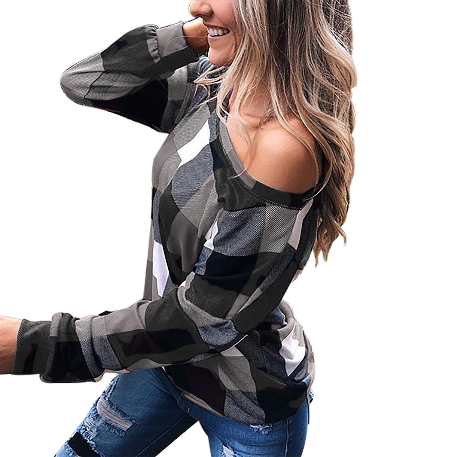 YXZFZ Womens Long Sleeve Off The Shoulder Casual Shirt Sexy Plaid Tunic