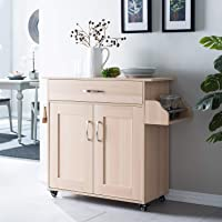 Cozy Castle Kitchen Island on Wheels Kitchen Cart Trolley with Storage, Drawers, Cabinet, Towel Rack and Wood Top…