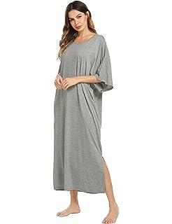 5bc4705d66 Ekouaer Nightgown Womens Oversized Loose Fit Sleepwear Long ...