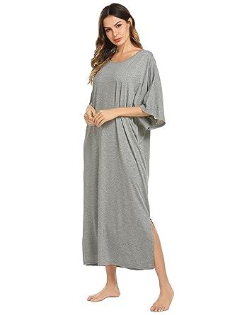 ffdc58062bae Ekouaer Womens V-Neck Cotton Nightgown Oversized Loose Fit Long Sleep Dress