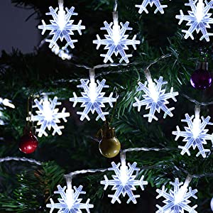 Chasgo LED Snowflake Light Battery Operated, 50 LED Christmas Light Cool White Snowflake Light for Christmas Party, Christmas Tree, Bedroom, Patio Decor