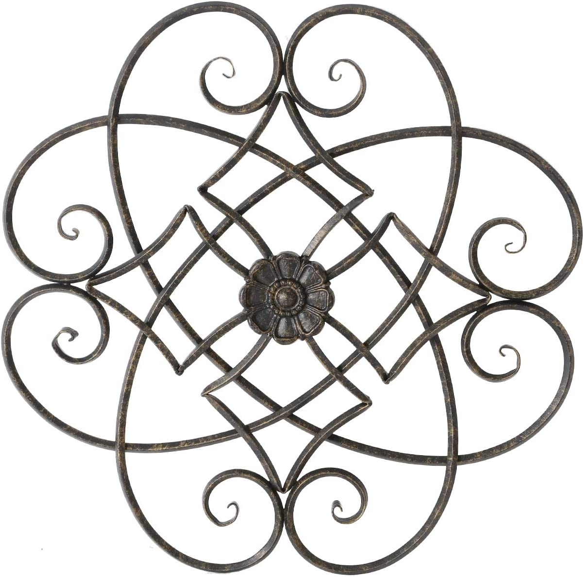 "Adeco Black Scrolled Flower Metal Wall Decor, Art Living Room Home Decoration, 22.5"" X 22.5"""