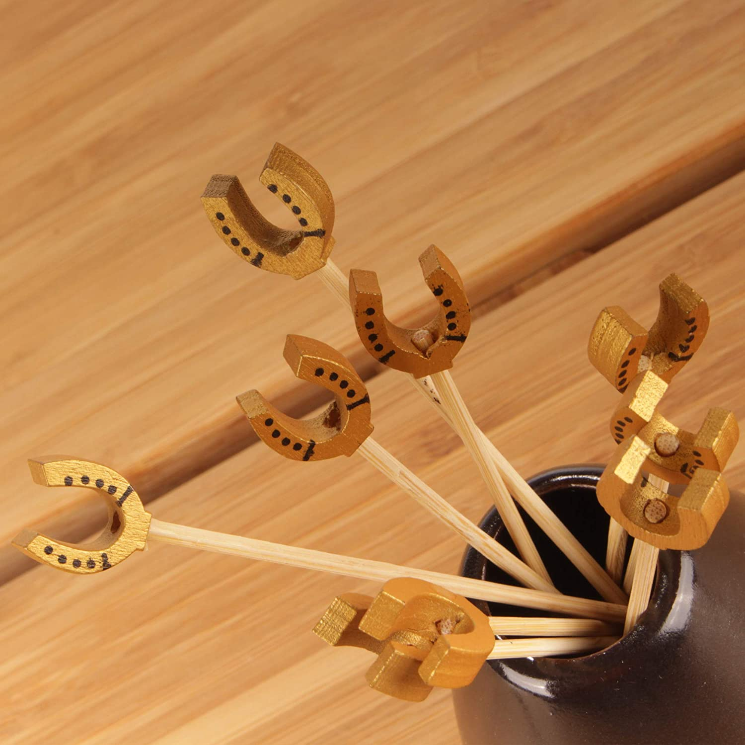 Holidays Restaurants or Buffets Party Supplies 100 Pieces Holiday/'s 6955114974195a BambooMN 3.9 Decorative Lucky Horseshoe End Bamboo Cocktail Fruit Sandwich Picks Skewers for Catered Events