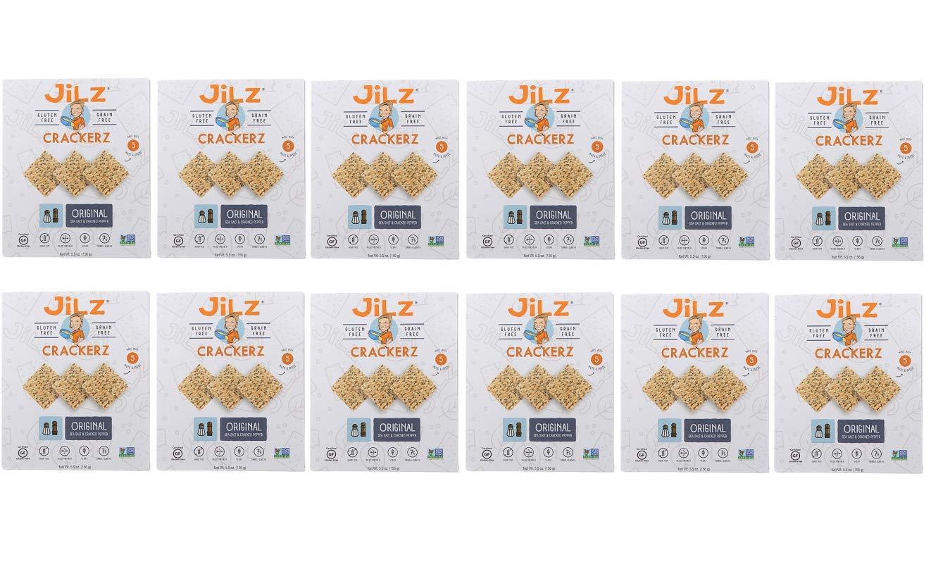 Jilz Gluten Free, Cracked Pepper Sea Salt Crackers, 5.5 Ounce