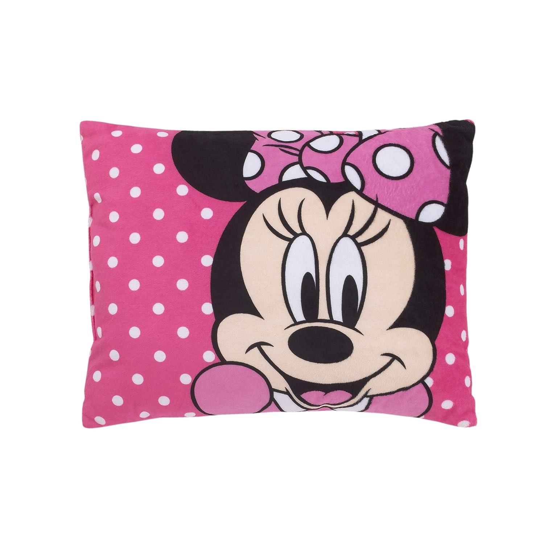 B07JJL93W3 Disney Minnie Mouse Bright Pink Soft Plush Decorative Toddler Pillow, Pink, White, Black 71gGg51hEFL