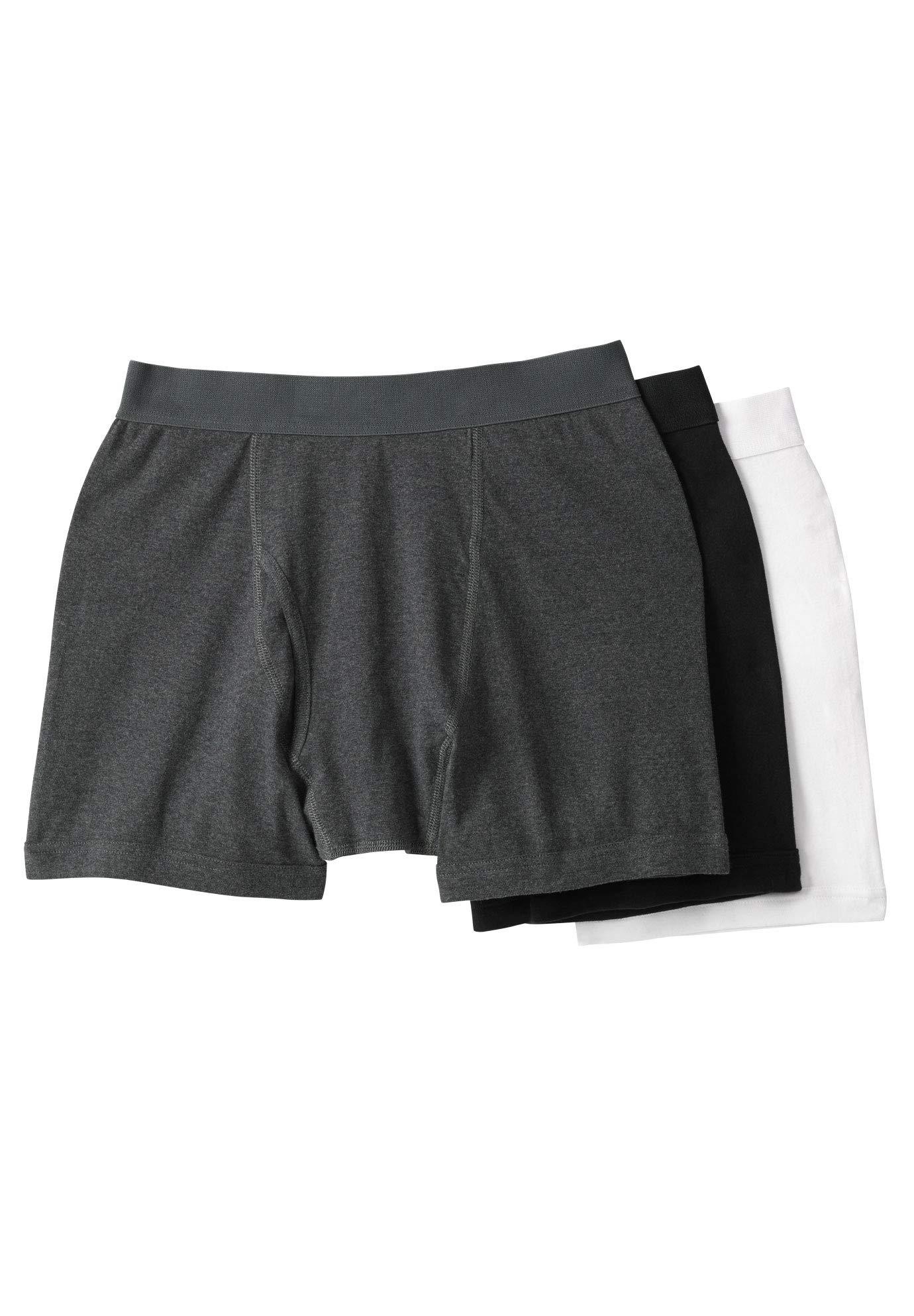 KingSize Men's Big & Tall Cotton Boxer Briefs 3-Pack, Assorted Basic Big-6XL