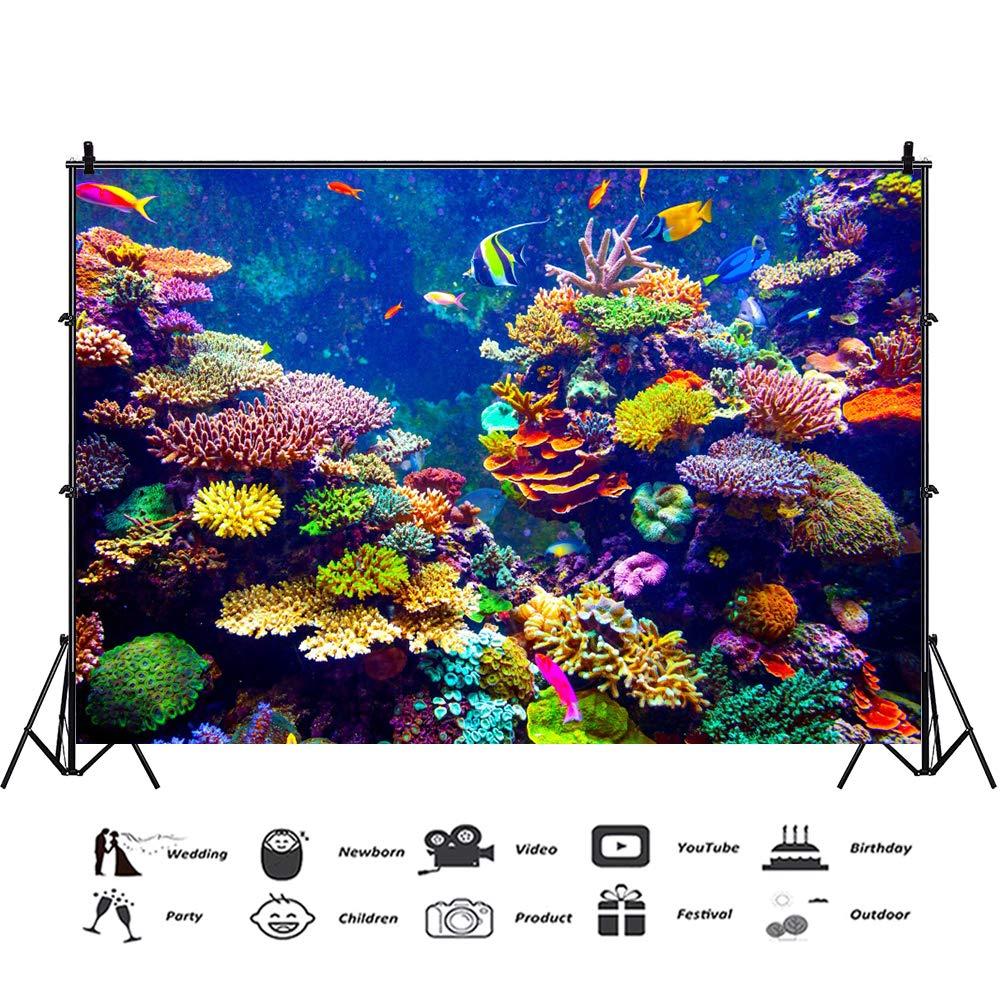 YongFoto 1,5x1m Vinilo Fondo de fotografía Corales Hermosos y Coloridos Los Peces Mundo Submarino Acuario Telón de Fondo Fotografía cumpleaños Estudio de ...
