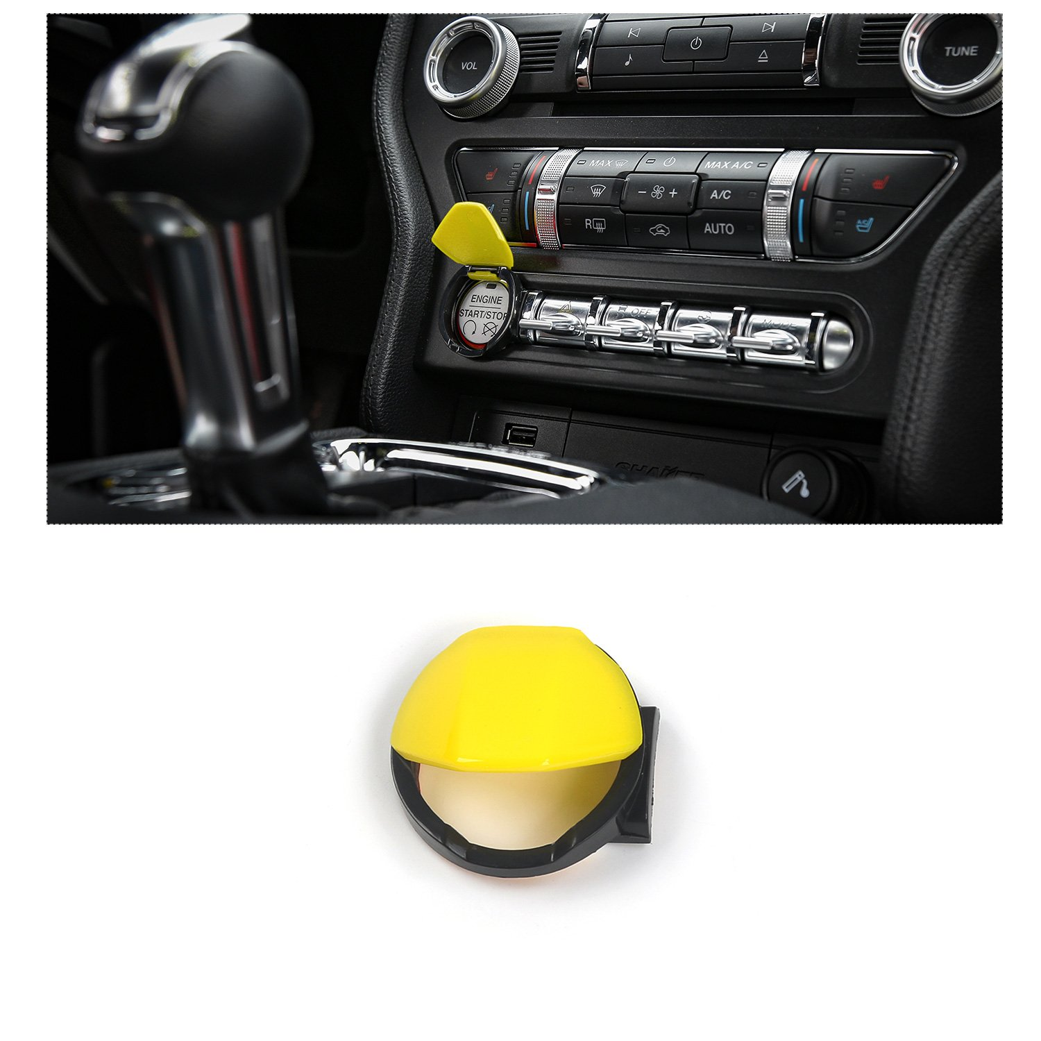 co-pilot位置ストレージボックススイッチボタンカバートリムfor Ford Mustang 2015 Up Engine Start/Stop Button Cover Trim イエロー RT-YM-01yellow B07BDJVDHR Engine Start/Stop Button Cover Trim|イエロー イエロー Engine Start/Stop Button Cover Trim