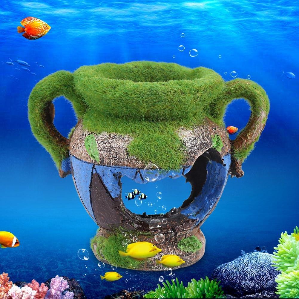 Semme Jarr/ón de resina de simulaci/ón Ocultar adornos de acuario de acuario de casa decoraci/ón