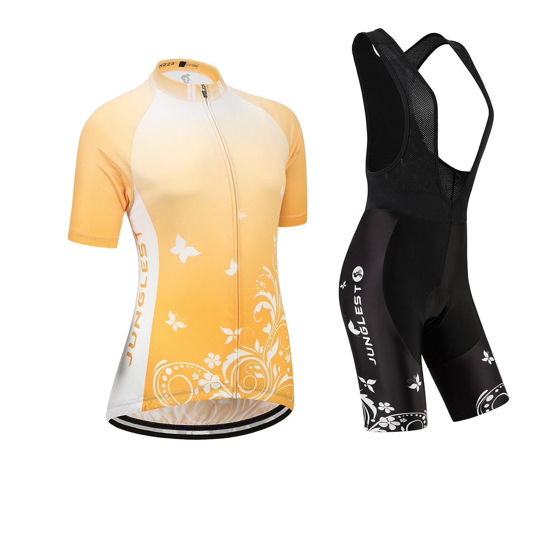 Cycling Jersey Setレディース半袖(S ~ 5 X L、オプション:よだれかけ、3dパッド) n223 B01BX3EDFA  種類: セット(ブラック前掛け) (General pad)(Bust 43-45inchs)