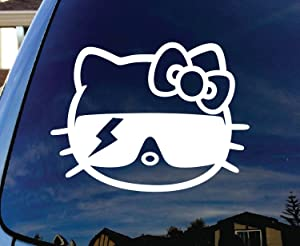 """SoCool - Hello Kitty Lady Gaga - Vinyl 4"""" wide (Color: WHITE) decal laptop tablet skateboard car windows stickers"""