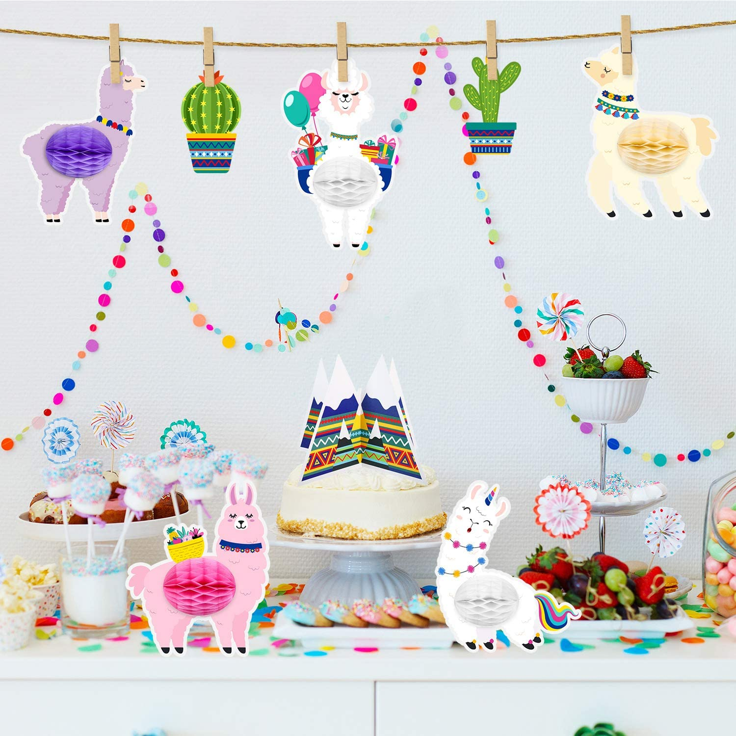 8 Pieces Llama Cactus Centerpiece Honeycomb Table Decorations Llama Cactus Honeycomb Party Supplies for Themed Birthday Party Baby Shower
