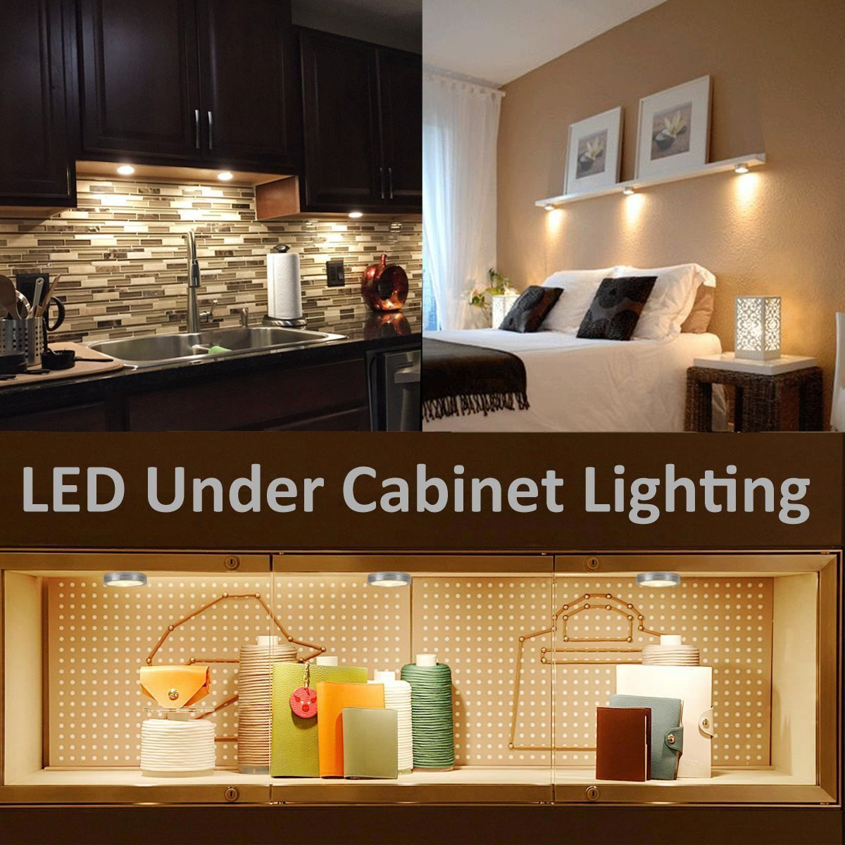 LE 5 Pack LED Under Cabinet Lighting Brightest Puck Lights 12V DC Under Counter Lighting 25W Halogen Replacement 240lm Warm White - - Amazon.com & LE 5 Pack LED Under Cabinet Lighting Brightest Puck Lights 12V ... azcodes.com