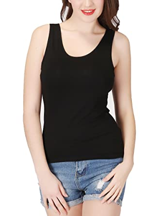 3f0ca5a0de918 Lashapear Womens Modal Camisole Built in Shelf Bra Padded Tank Top Solid  Color Yoga Tanks Tops