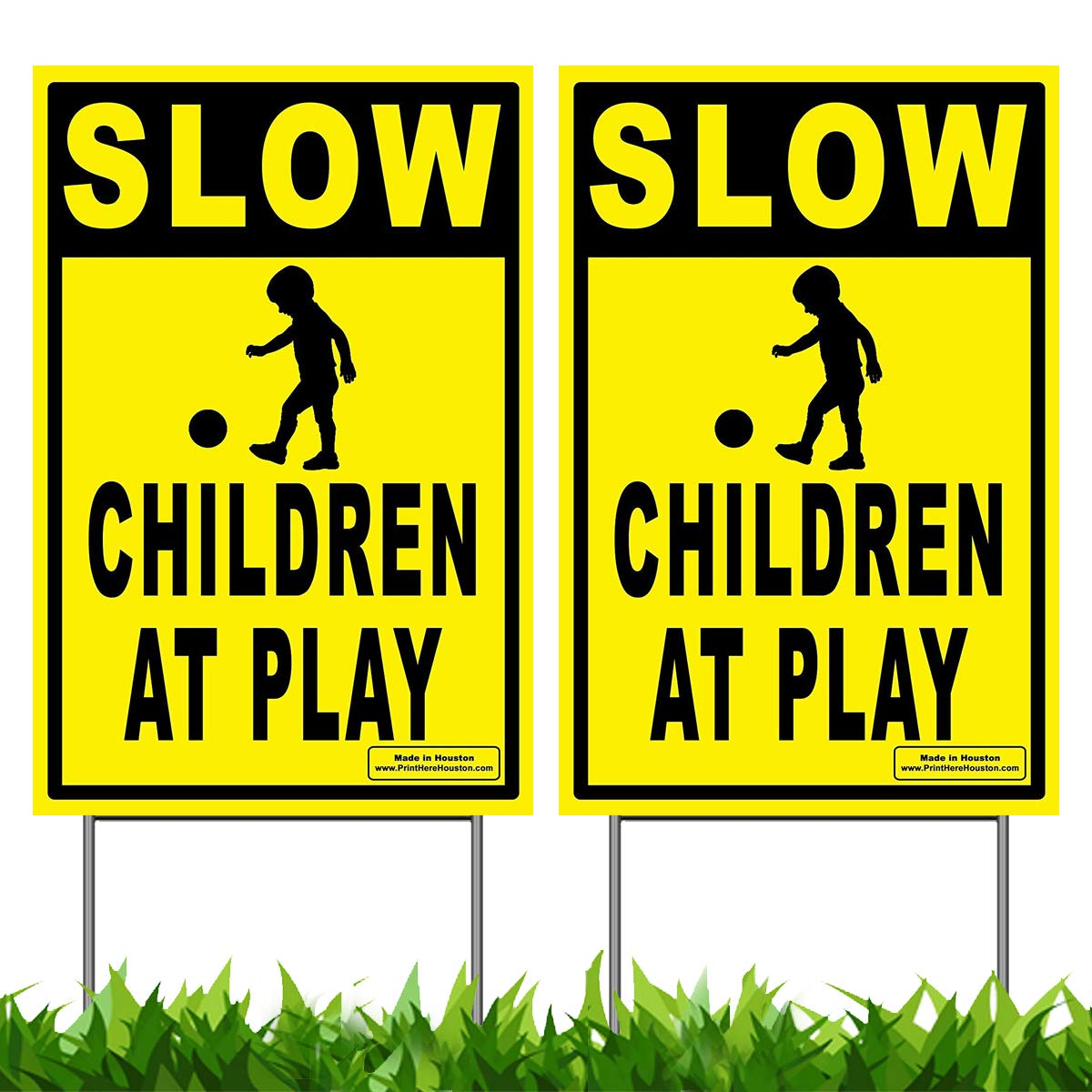 Vibe Ink Pack of 2 Slow - Children at Play Caution Yard Signs - Lawn Sign + Metal Stakes (Double Pack)