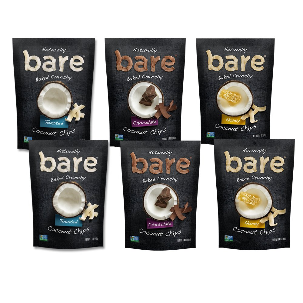 Bare Baked Crunchy Coconut Chips, Variety Pack, Gluten Free, 1.4 Ounce Bag, 6 Count by Bare