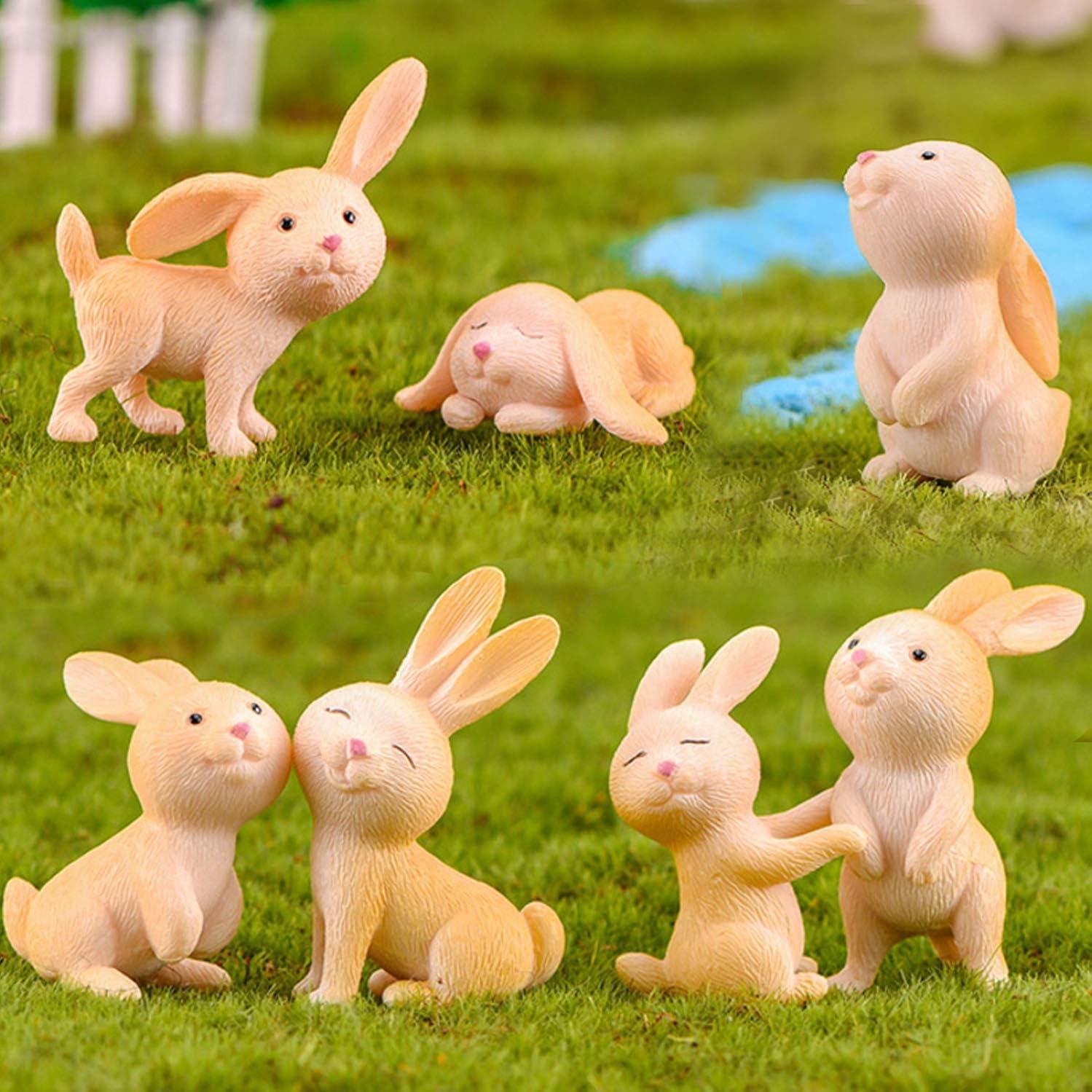 Miniature Bunny Figurines Animal Rabbit Figure Figurine Fairy Garden Decorations Yellow 7 PCS