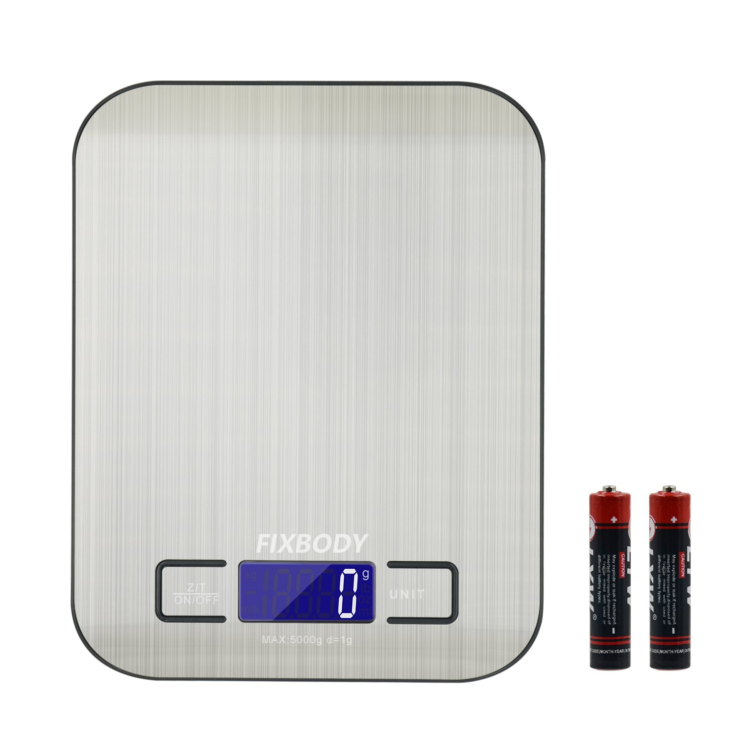 FIXBODY Digital Kitchen Scale Multifunction Food Scale, Stainless Steel, Silver, 5000g/1g (Batteries Included)