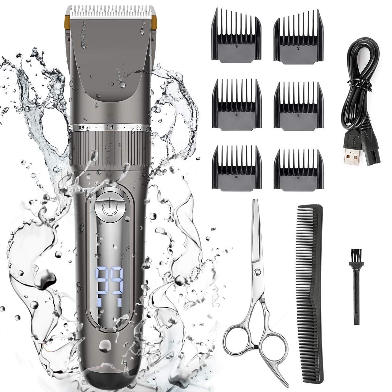 Nicewell Hair Clippers for Men Kids Waterproof Cordless Hair Trimmer Electric Machines, with Hair Scissors & Guard Combs