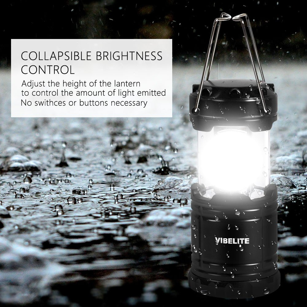 VIBELITE Led Lantern,Camping Lantern Collapsbile COB light with 12 AA Batteries Survival Kit for Emergency IP54 for Hiking Emergencies Hurricanes 4 Pack Black by VIBELITE (Image #5)
