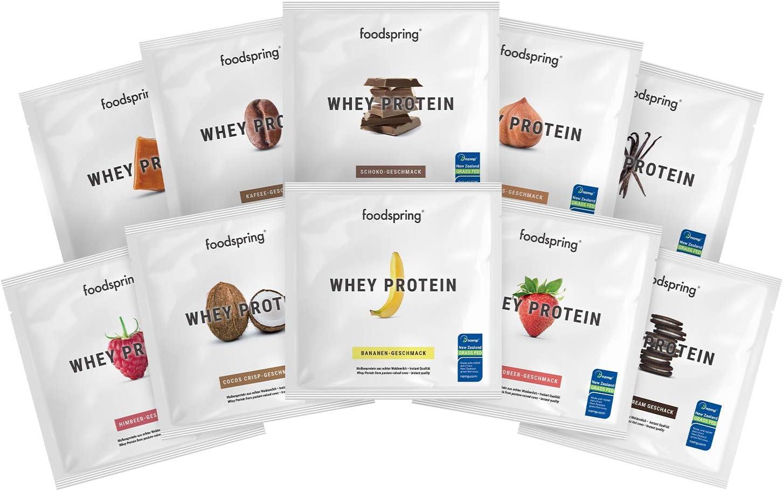 foodspring Muestras de Proteína Whey, Sabores distintos, 10 x ...