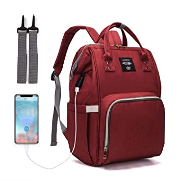 Red Waterproof Handbag Large Capacity Diaper Bag Tote,Stylish for Women Multifunction Travel Maternity Baby Nappy Shoulder Bag Organizer for Baby Care