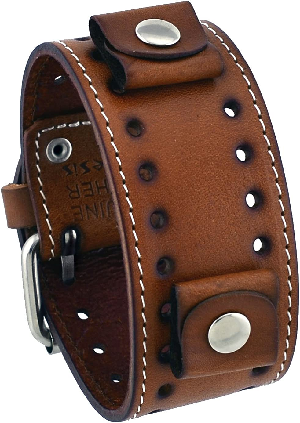 Nemesis STH-B 22 Lug Width Brown Wide Leather Cuff Wrist Watch Band